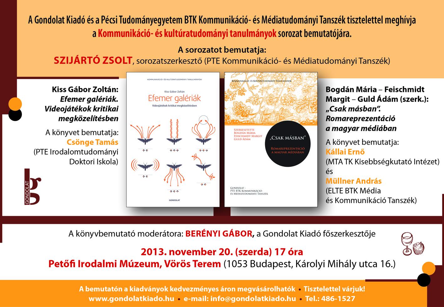 Könyvbemutató - Kommunikáció- és kultúratudományi tanulmányok sorozat
